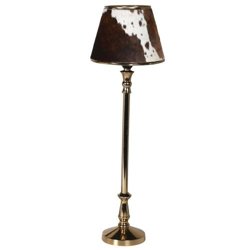 Gold Stem Lamp with Brown Hide Shade